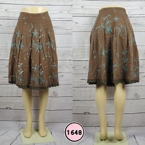 sweet by miss me small brown midi skirt